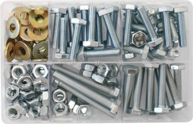 Assorted Box of M10 Hardware - Setscrews, Nuts & Flat Washers (150)