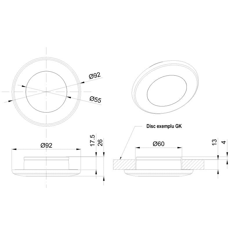 LED Interior Light / Round 92mm / No Visible Fixings / 420