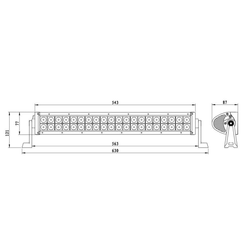 Curved LED Light Bar / Flood Beam / Curved / 40x LED / 630mm