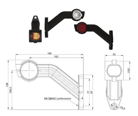 LED Outline Marker Lamps with Front, Rear & Side Marker