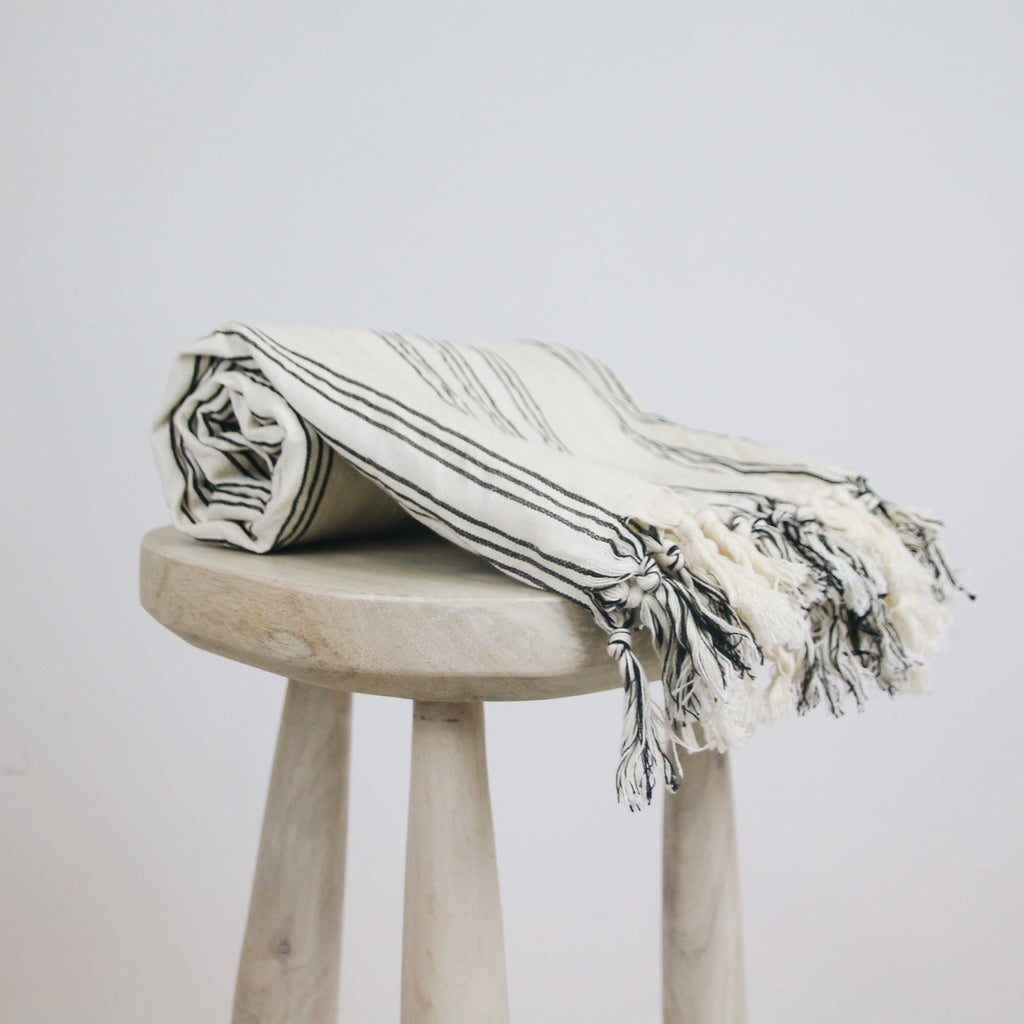 Black Lined Turkish Towel