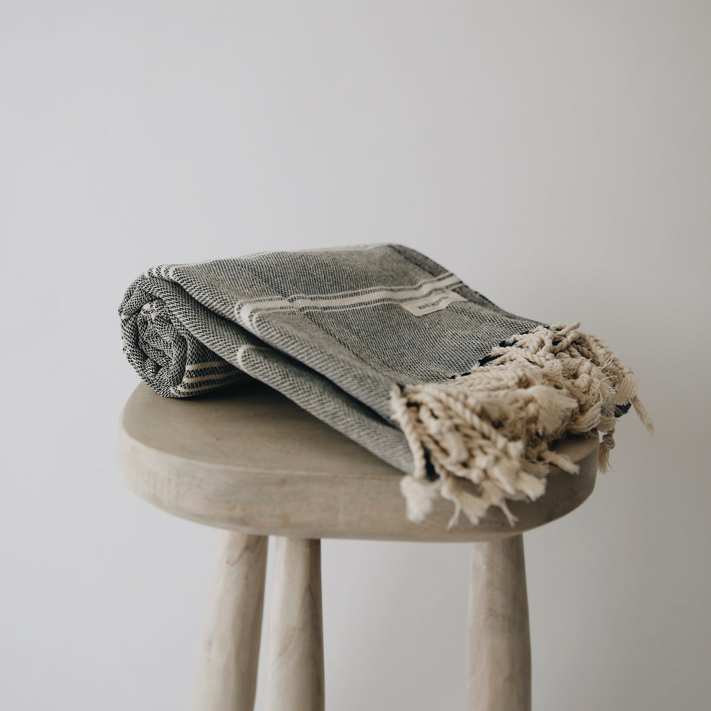 Soot Striped Turkish Towel
