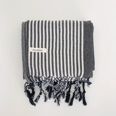 B&W Striped Turkish Towel