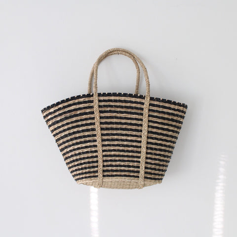 Black Striped Market Bag