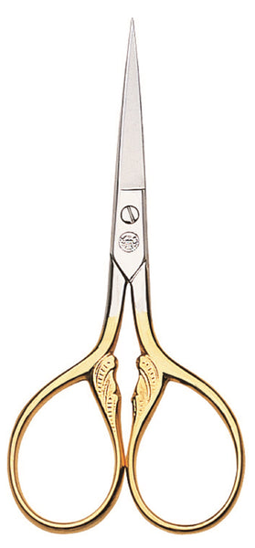 "Dovo Embroidery SCISSORS 3 1/2"" NICKEL Gold Plated w/ Sheath"