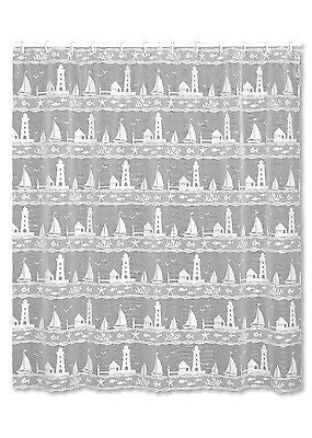 Heritage Lace SHOWER CURTAIN Harbor Lights 72x72 WHITE Made in USA