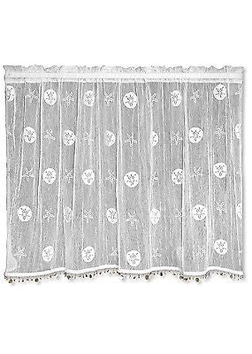 Heritage Lace SAND DOLLAR Tier with Trim 45x30 White Made in USA