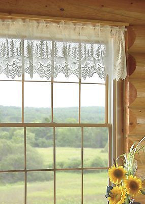 Heritage Lace PINECONE Valance 60x16 WHITE Made in USA