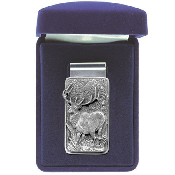 ELK Money Clip Solid PEWTER w/Gift Box RECTANGULAR