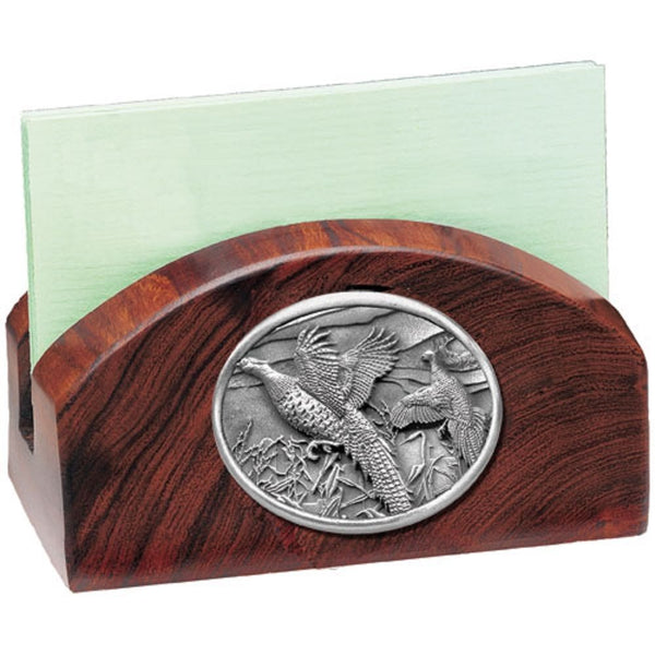 Pheasant BUSINESS CARD Holder Desertwood and PEWTER