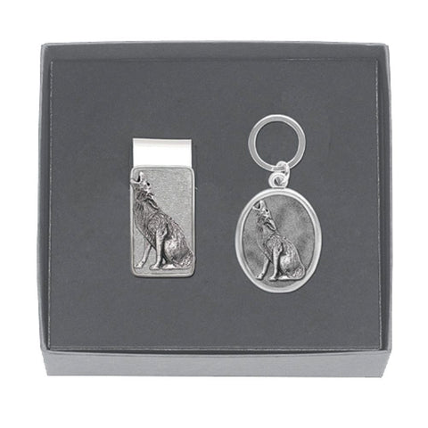 Coyote Money Clip AND Key Chain Mens GIFT SET Solid PEWTER w/Gift Box