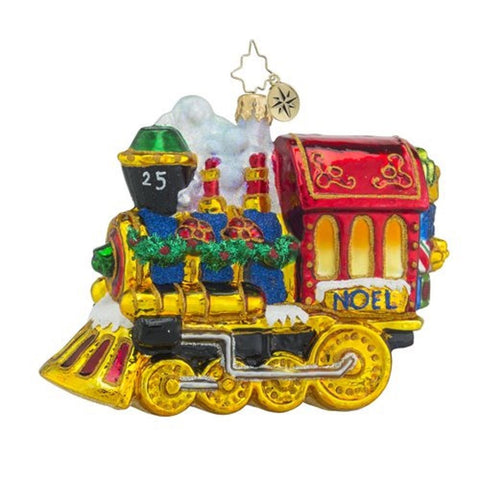 Christopher Radko CHRISTMAS Ornament TRAIN All Aboard GLASS 5""
