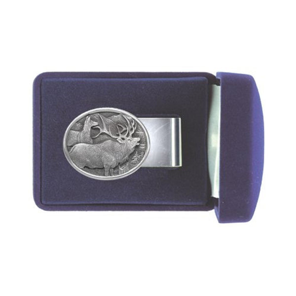 ELK Money Clip Solid PEWTER w/Gift Box OVAL
