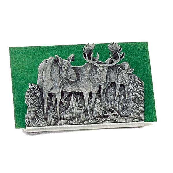 Moose BUSINESS CARD Holder PEWTER 3 Moose