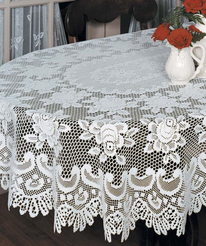 Heritage Lace ROSE Tablecloth 60 x 108 Oval ECRU Made in USA