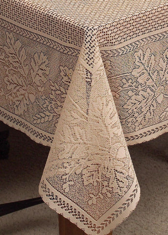 Heritage Lace TABLECLOTH Oak Leaf CAFE 70x108 RECTANGLE Made in USA