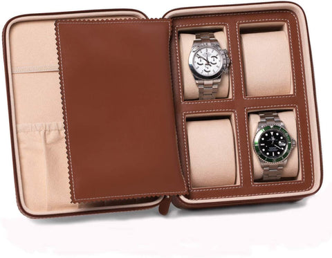 Bey-Berk 4 Watch and Accessory Case Brown Leather