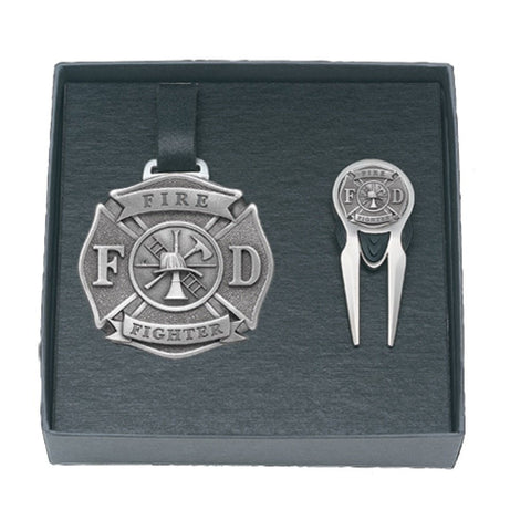 Firefighter GOLF Set Bag Tag Repair Tool Solid PEWTER w/Gift Box