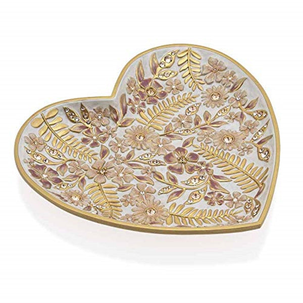 Jay Strongwater ARIA Floral Heart Trinket Tray 18k Gold Finish