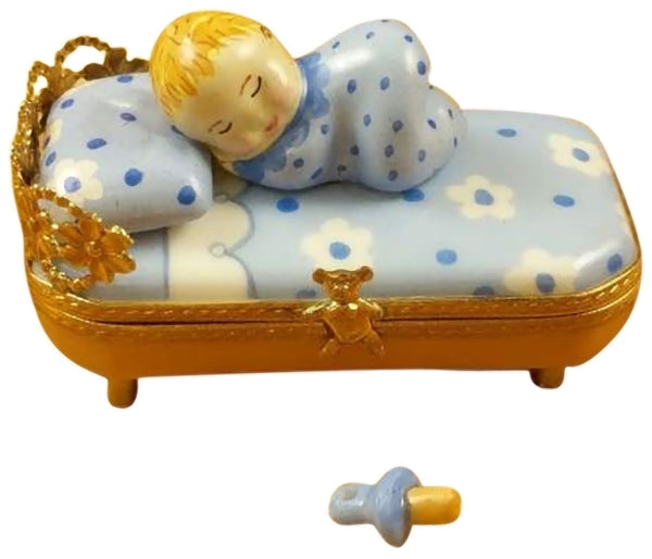 Rochard Limoges Baby in Blue Bed w/Pacifier Trinket Box