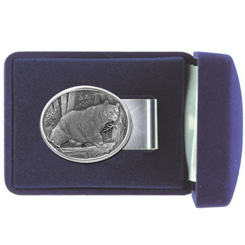 Black BEAR Money Clip WHITE TAIL Solid PEWTER w/Gift Box