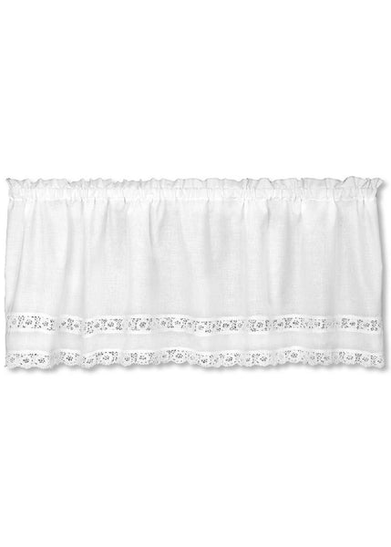 Heritage Lace VALANCE Blue Ribbon CROCHET 54x16 WHITE