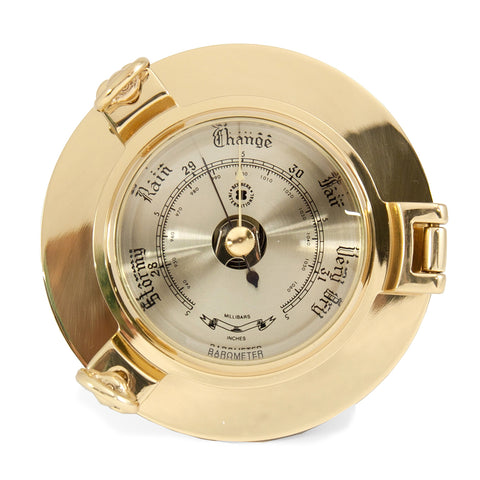 Bey-Berk Barometer Porthole in Lacquered Brass w/ Beveled Glass