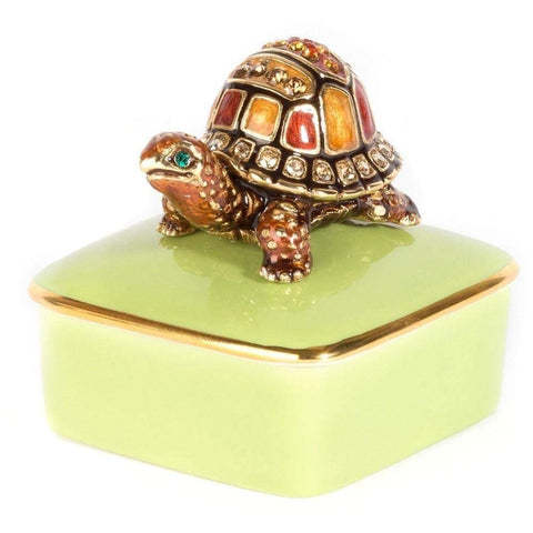 Jay Strongwater Porcelain Box CADEN Turtle 14k Gold