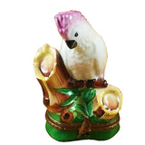 Rochard Limoges Cockatoo Pink Crested Trinket Box