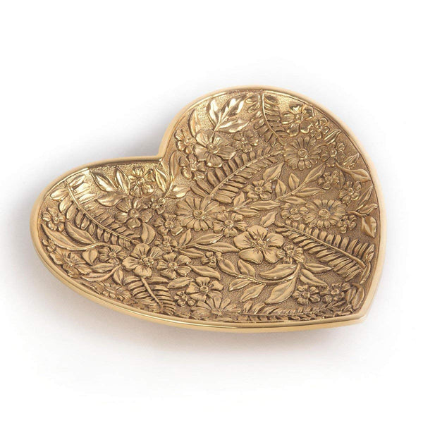 Jay Strongwater COLLEEN Trinket Tray Floral Heart 18k Gold