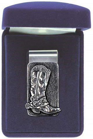 Cowboy Boot Money Clip Solid PEWTER w/Gift Box