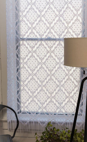 Heritage Lace PANEL Diamond Fringe 48x63 WHITE Made in USA