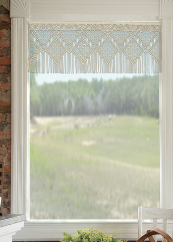Heritage Lace Diamond Fringe VALANCE 48x16 Cafe Made in USA