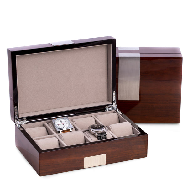 Bey-Berk Eight WATCH Box Walnut Wood Piano Finish