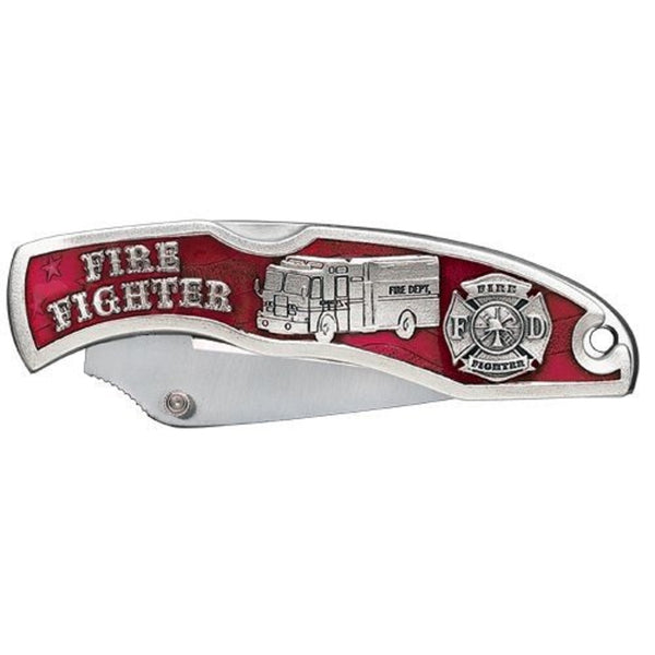 Firefighter Pocket Knife Solid PEWTER w/ Pouch and Gift Box
