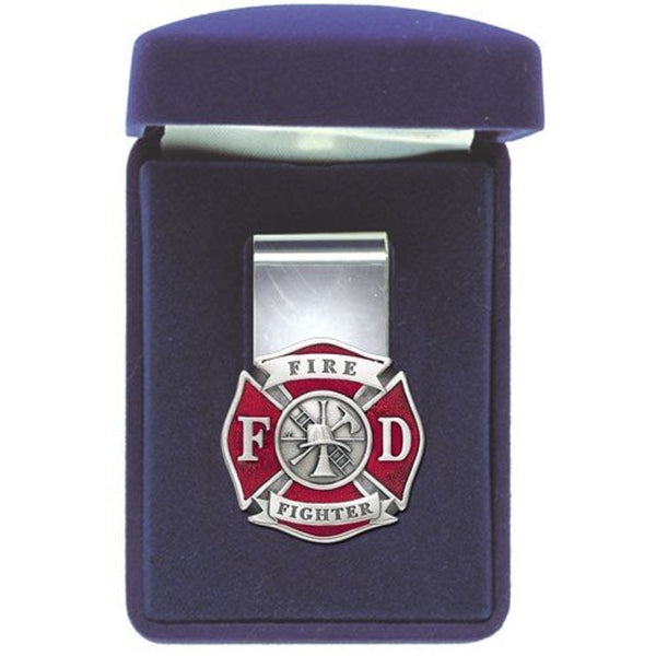 Firefighter Money Clip Solid PEWTER w/Gift Box