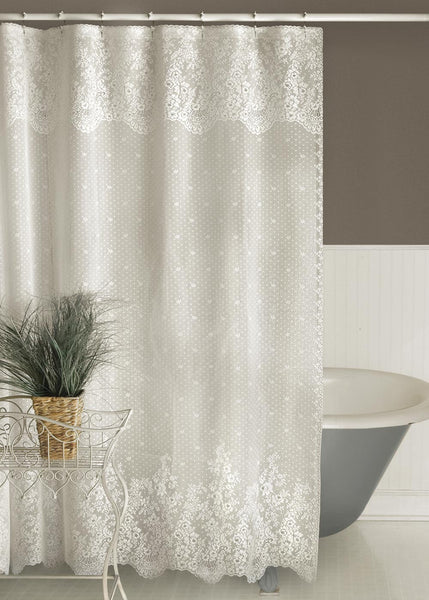 Heritage Lace SHOWER CURTAIN Floret 72x72 WHITE Made in USA