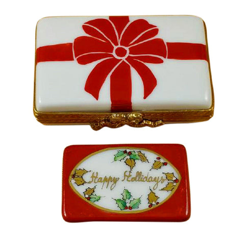 Rochard Limoges Gift Bow with Red Bow ~ Happy Holidays Trinket Box