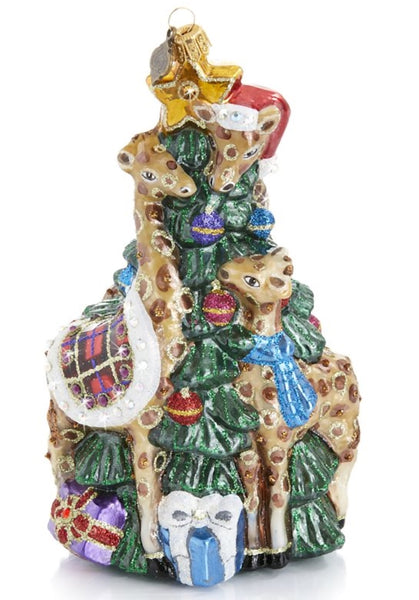Jay Strongwater Christmas Giraffe Family Decorating Tree Ornament Glass
