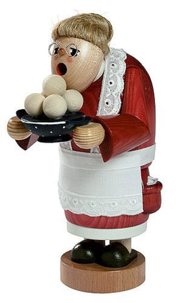 German Incense Smoker KWO Grandmother with Dumplings Handmade Wood