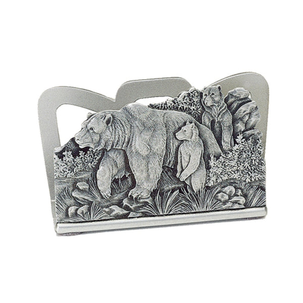 Grizzly Bear BUSINESS CARD Holder PEWTER 3 Grizzlies