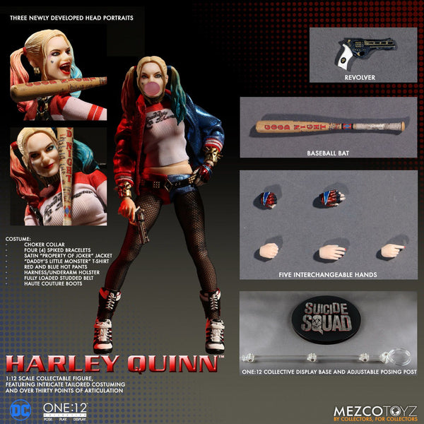 Harley Quinn Action Figure 1/12 Scale Collective SUICIDE SQUAD Mezco Toys