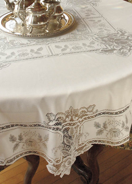 "Heritage Lace Heirloom Tablecloth 70"" Round White"
