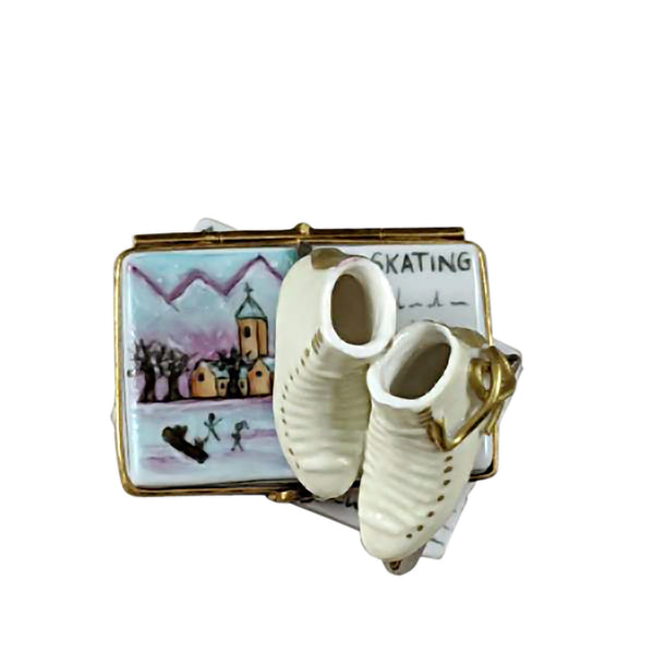 Rochard Limoges Ice Skates on Book Trinket Box