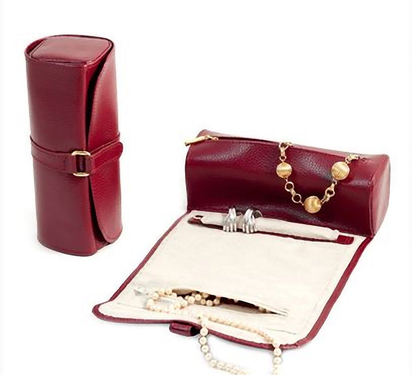 Bey-Berk Travel Jewelry Roll Red Leather 8""