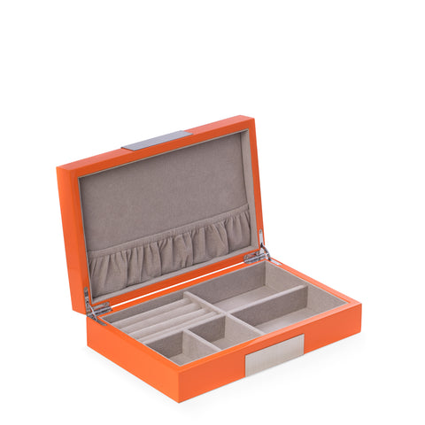 Bey-Berk Jewelry Box Lacquered Wood Valet Box Orange
