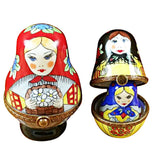 Rochard Limoges Russian Dolls Nesting w/ Red Scarf Trinket Box