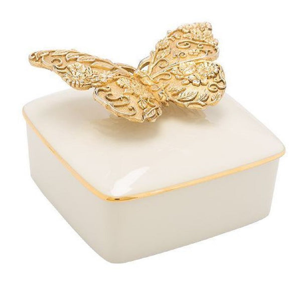 Jay Strongwater Porcelain Box Liz Gilded Butterfly 18k Gold