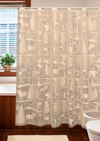 Heritage Lace SHOWER CURTAIN Lodge Hollow 72x72 NATURAL Made in USA