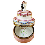 Rochard Limoges Mini Wedding Cake with Bride and Groom Trinket Box